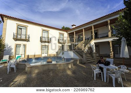 Amarante, Portugal - September 23, 2017: House With A Granite Staircase, Water Feature And A Beautif
