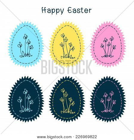 Set Of Easter Eggs With Floral Ornament, Yellow Dark Blue Pink Azure Colour On A White Background. S