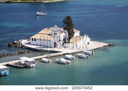 Monastery Of Vlaherna On The Mouse Island. Corfu. Greece