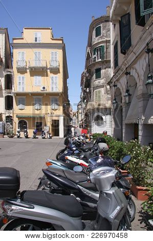 Most Common Form Of Transport On The Streets Of Corfu. Greece