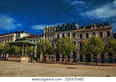 Ghent, Belgium - July 03, 2017, 2017. Square With Gazebo, Ancient Buildings And Sunny Blue Sky In Th