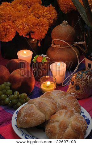 Mexican Day Of The Dead Offering Altar In November
