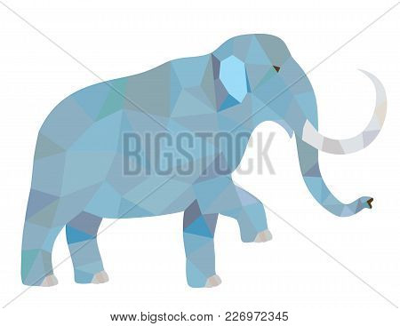 Vector Polygonal Illustration Of Elephant. Isolated On White Background