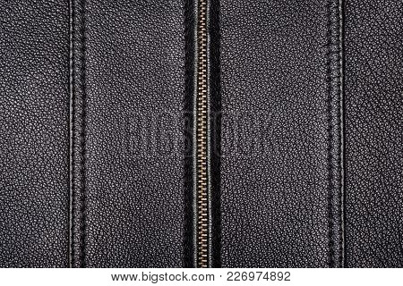 The Surface Texture Is Made Of Genuine Black Leather With Two Seams With A Double Stitch And A Zippe
