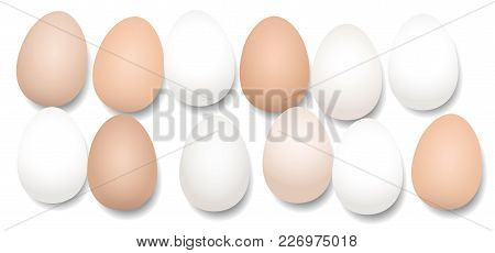 A Dozen Eggs. Twelve Pieces With Different White And Brown Tones, Lying Side By Side, Loosely Arrang