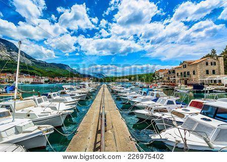 Scenic View At Summer Landscape In Makarska Town, European Tourist Resort In Croatia, Mediterranean.
