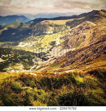 Distante View From Chopok, A Mountain Top In Low Tatras In Slovakia, Europe During A Summer Day In V
