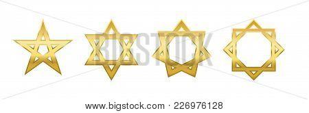 Pentagram, Hexagram, Heptagram And Octagram. Four Different Golden Stars With Self-intersecting Five