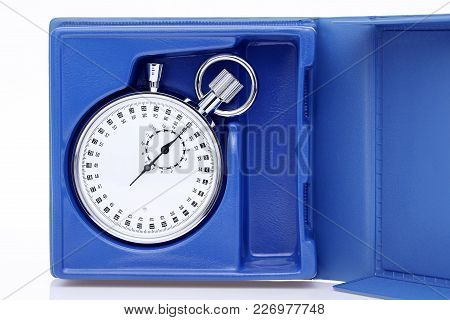 Analogue Metal Stopwatch In A Box On White Background