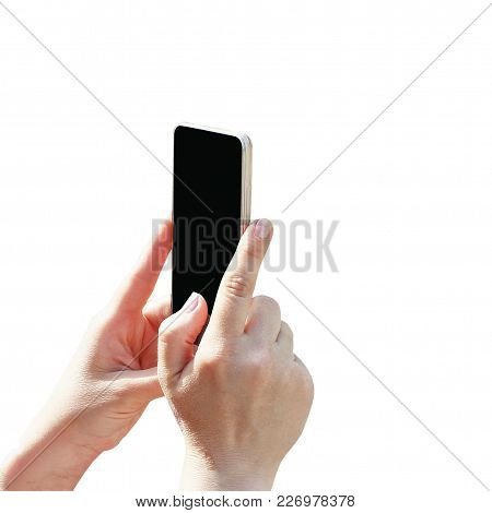 Hand Offering Phone, Isolated On White Background, Palm, Black Screen For Text