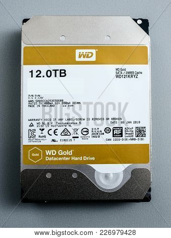 Paris, France - Feb 15, 2018: Front View Of New Western Digital Gold Hdd Enterprise Level 12 Terabyt