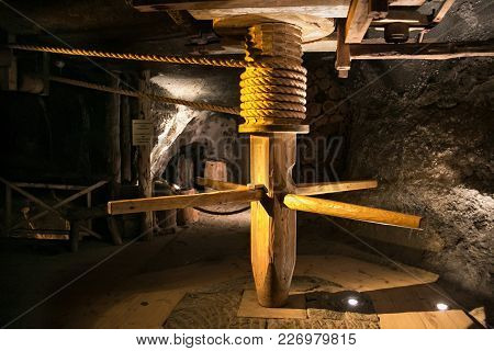 Wieliczka, Poland - May 28, 2016: Wooden Winch In The Wieliczka Salt Mine. Opened In The 13Th Centur