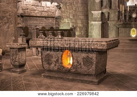 Wieliczka, Poland - May 28, 2016:  Altar Of The St. Kinga's Chapel In The Wieliczka Salt Mine. Opene