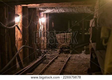 Wieliczka, Poland - May 28, 2016: Old Trolley In The Wieliczka Salt Mine. Opened In The 13Th Century