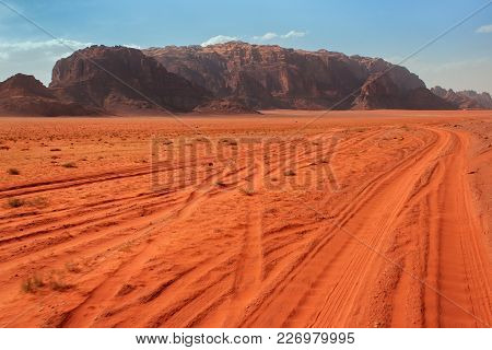 Wadi Rum, Jordan - May 11, 2013: View To The Wadi Rum Desert In Jordan. Wadi Rum Also Known As The V