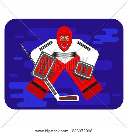 Hockey Goalkeeper In Flat Stile Protecting The Gate. Color Vector Illustration. Goaltender Sportsmen