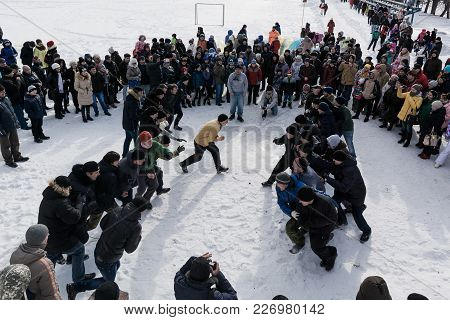 Yoshkar-ola, Russia - February 26, 2017 Popular Competition Wall On A Wall. Shrovetide Celebration I