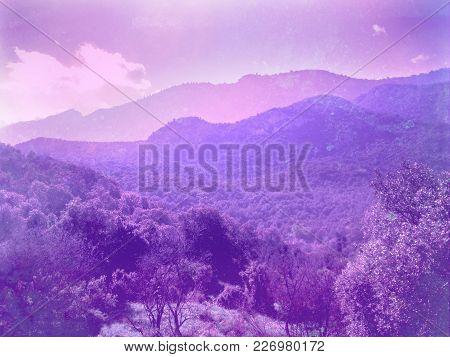 Neon Purple Hills Mountains Magical Fantasy Landscape