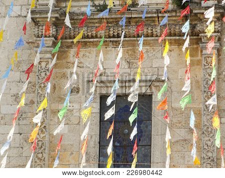 Flags On The Cathedral Of San Gervasio Valladolid Yucatan Mexico