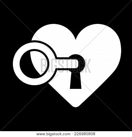 Heart Lock With Key. Love And Valentine Day Concept. Line Flat Vector Icon. Solid Design