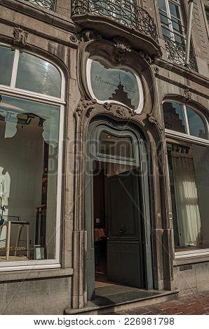 Bruges, Northwestern Belgium - July 05, 2017. Front Door Of An Art Nouveau Building In A Street Of B