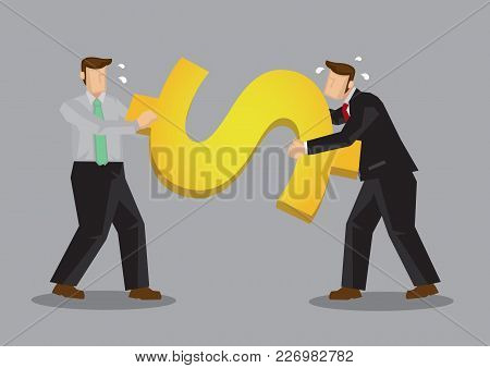 Business Professionals Fighting A Huge Golden Dollar Symbol. Creative Vector Cartoon Illustration On