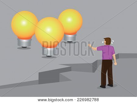 Cartoon Crying Man Separated From Golden Light Bulb, Representing Innovative Ideas, By Huge Cracks O