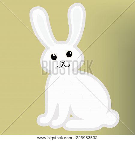 Cartoon Easter Bunny. Rabbit Isolated On Green Background. Vector Illustration.