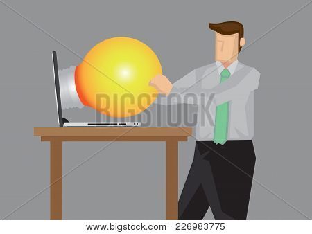 Business Professional Getting A Big Light Bulb, Representation Of Business Idea, From Laptop Compute