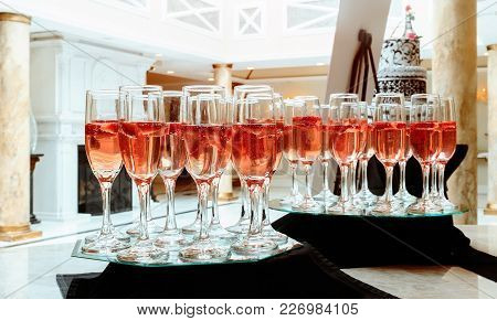 Glasses Of Champagne With A Large Depth Of Field Closeup Of Glasses Of Champagne In A Row On A Table