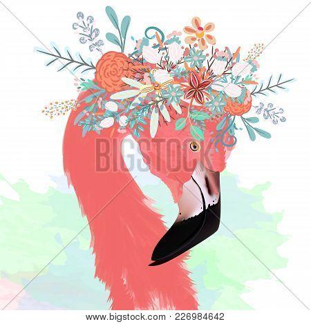 Fashion Vector Illustration With Drawn Pink Flamingo