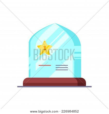 Shining Award Prize With Golden Star And Wood Pedestal. Modern Flat Style Vector Illustration Isolat