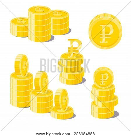 Ruble Coin Heaps. Exceeding Income Goals, Calculating High Income And A Large Capital Base. Business