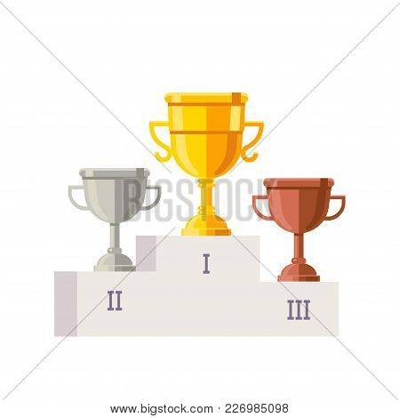 White Empty Winner Podium Template With Place Numbers On It And Rewards. Golden, Silver And Bronze C