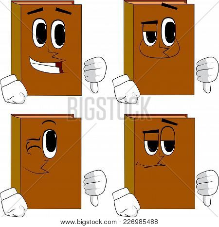 Books Showing Dislike Hand Sign. Cartoon Book Collection With Happy Faces. Expressions Vector Set.