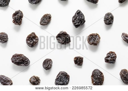 Raisins Shot Close Up With A Macro Lens On A White Background