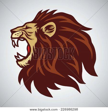 Lion Head Mascot Roaring Vector Illustration Logo Template