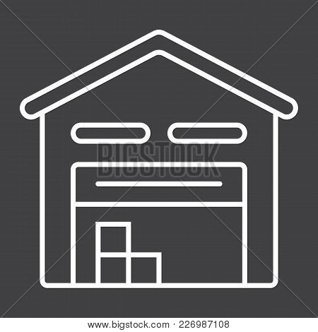 Warehouse Line Icon, Logistic And Delivery, Storage Sign Vector Graphics, A Linear Pattern On A Blac
