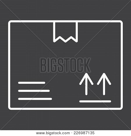 Carton Box Line Icon, Logistic And Delivery, Cardboard Box Sign Vector Graphics, A Linear Pattern On