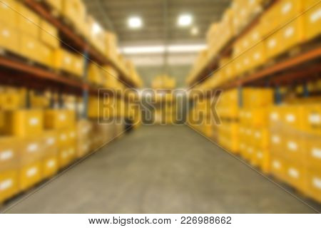 Blur Image Of Warehouse, Industry Background Texture