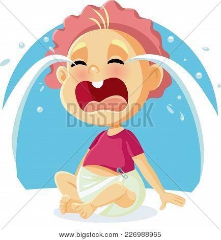 Funny  Cute Baby Crying Vector Cartoon Illustration