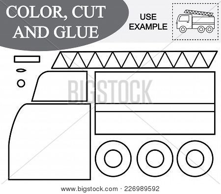 Color, Cut And Glue Image Of Fire Escape (car). Educational Game For Children.