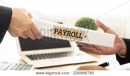 Accountant To Send Payroll Folder To Account Manager. Concept Of Accounting, Accounts, Bookkeeping,
