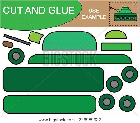 Cut And Glue Image Of Military Tank. Educational Game For Children.
