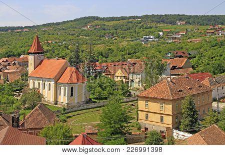 Lutheran Church In Small Village Cisnadioara In Romania