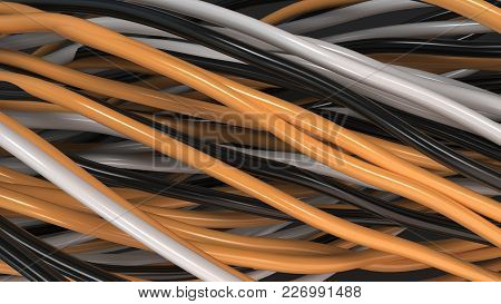Twisted Black, White And Orange Cables And Wires On Black Surface
