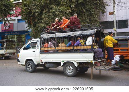 Mandalai, Myanma - December 22, 2016: Hyundai Porter - Passenger Truck, Public Transport Of The Mand