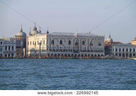 View Of The Palazzo Ducale From San Marco Bay In The Sunny Day. Venice, Italy