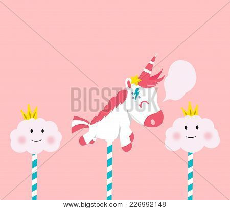 Cute Unicorn Cartoon With Pink Hair And Horn Flying Among The Clouds Looking Like Candy Cotton Thing
