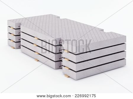 Reinforced Concrete Road Slabs In The Stack. 3d Rendering